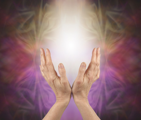 open hands: Pranic healer sensing energy  -   female hands reaching up into a soft white light with a gold pink and purple energy formation behind and copy space Stock Photo