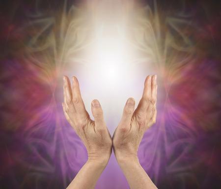 manos abiertas: sanador pránico detección de la energía - las manos femeninas que alcanzan hasta en una suave luz blanca con una formación de energía púrpura rosa de oro y detrás y copia espacio
