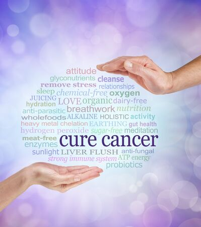 chelation: Words associated with holistic cancer cures - a male and a female hand facing each other with the words CURE CANCER surrounded by a relevant word cloud bubble on a pale purple bokeh background Stock Photo