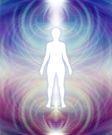Human Aura Energy Field -   white female silhouette with a blue upper and deep purple lower energy field aura radiating outwards Stock Photo