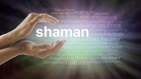 female shaman: Shaman word cloud and healing hands - female cupped hands with the word SHAMAN between surrounded by word cloud on a graduated dark edged pink and green soft lit background