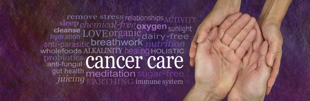 earthing: Alternative methods for caring for those with Cancer - female hands gently cradling male hands with a CANCER CARE word cloud to left on a rough stone effect pink purple background