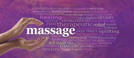 Enjoy the benefits of massage - Female hands gently cupped around the word MASSAGE surrounded by a relevant word cloud on a pink purple pattern background Stockfoto