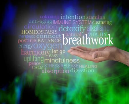 Les avantages de la Respiration - mâle, main, paume tenue avec le mot Breathwork flottant au-dessus entourés d'un nuage de mots pertinents sur un noir abstrait moderne et fond vert