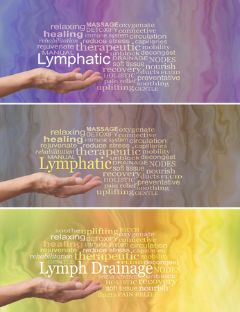 Manual Lymphatic Drainage Word Cloud x 3 - female hand palm facing up with the word LYMPHATIC DRAINAGE above surrounded by a relevant word cloud on a fluid like background showing three different colorways