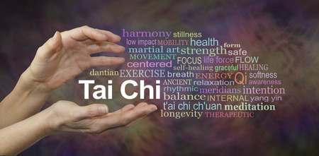 Tai Chi Word Cloud - female hands cupped around the words TAI CHI surrounded by a relevant word cloud on a rich complex multi colored background