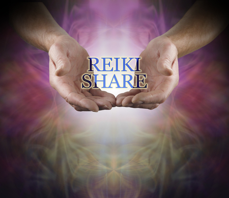 You are invited to a Reiki Share - male open hands with the words REIKI SHARE hovering between with  white light behind and a beautiful warm color misty energy formation background and space below