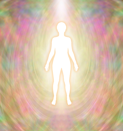 Golden Goddess Aura - white female silhouette figure with golden glow and delicate multi-layered golden aura energy field