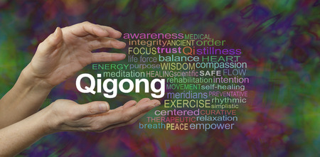 chi kung: Qigong Healing word cloud - female cupped hands with the word QIGONG between surrounded by a word cloud on a rich dark multicolored background