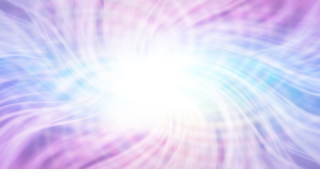 Ethereal Matrix Energy background - eye shaped streams of white flowing laser light on a pale blue and purple background with a central white ball of light