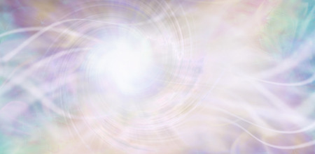 Streaming ethereal energy background - streams of white light and a central white vortex light area with a random pattern of aqua, purple, pink and light golden yellow Standard-Bild