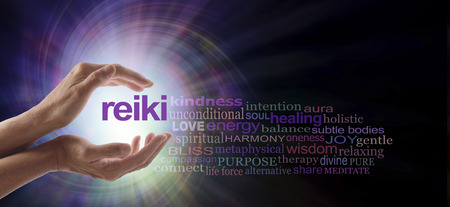 healing chi spiritual: Reiki Vortex Healing Word Cloud - Female hands cupped around the word REIKI with a relevant word cloud on a spiraling bright light vortex background and copy space