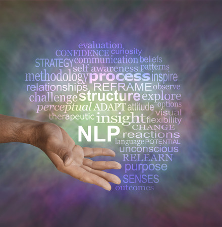 linguistic: Offering Neuro Linguistic Programming NLP word cloud - male hand in offering gesture position with an NLP word cloud above on a muted multicolored vignette background