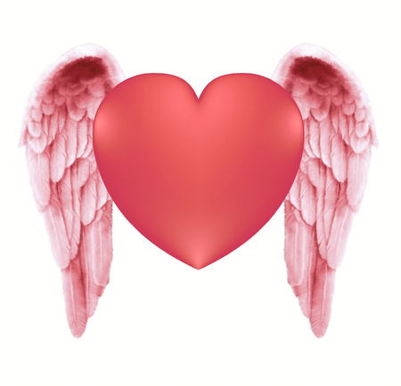 either: Angelic Love Heart - pink red slim line Angel wings either side of a plump red love heart on a white background