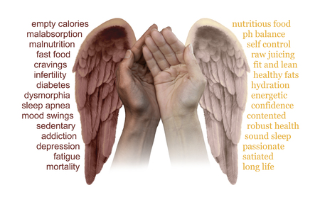 bad angel: The good and bad effects of Food  - a pair of hands cupped, one pale one dark, each with an Angel wing pale and dark, with words relevant to the good and bad effects of food either side isolated on white