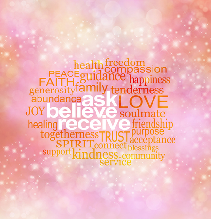 center position: Ask believe receive - pink, orange and yellow sparkling bokeh background with white words ASK BELIEVE RECEIVE surrounded by arelevant word cloud in center position with copy space around