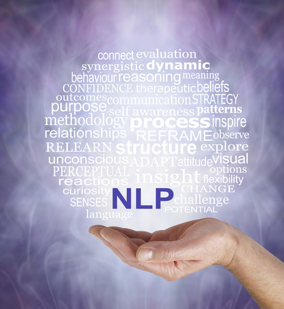 outcomes: Neuro Linguistic Programming  word cloud - male hand palm up with a circular NLP word cloud floating above on a misty muted purple grey background
