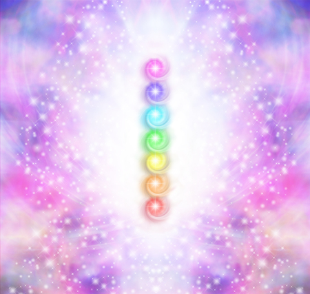 chakra energy: Seven Chakra Vortex Stack  -  Symmetrical oink and purple sparkling starry colored energy field with a vertical row of seven rainbow colored chakras placed in the center