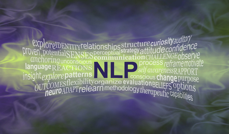 perceptual: Neuro Linguistic Programming  word cloud banner - wide smokey misty deep purple and lime green background with an NLP word cloud streaming across the middle in lime with copy space around