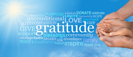 indebted: Thanksgiving Togetherness -  Male hands  cradling female cupped hands on a wide blue sky background with a GRATITUDE word cloud and large sun burst in top left corner