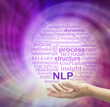 perceptual: Words associated with Neuro Linguistic Programming - female hand palm up offering NLP word cloud with a magenta energy spiral in the background Stock Photo
