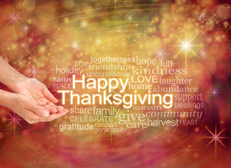 cupped hands: Have a Happy Thanksgiving - female cupped hands with the word THANKSGIVING to the right surrounded by a word cloud on a warm golden orange sparkling starry celebration background