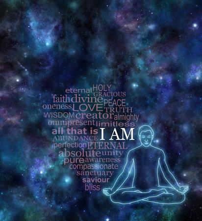 silueta masculina: YO SOY meditación nube de la palabra - Cielo nocturno del espacio profundo fondo oscuro estandarte con la posición de loto resplandeciente silueta masculina en el lado derecho y una nube de palabras transparente que rodea YO SOY en blanco Foto de archivo