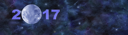 3rd ancient: Once in a Blue Moon 2017 Website Header - Deep space banner with a beautiful blue moon making up the zero in 2017 and plenty of copy space on right side Stock Photo
