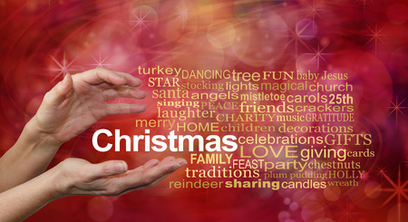word cloud: Word Cloud for Christmas - female hands and a CHRISTMAS word cloud on a sparkling glittery red bokeh background