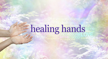 Healing Hands and Nature Word Cloud - female hands in open giving gesture a HEALING HANDS word cloud beside on a rainbow colored soft focus woodland scene background