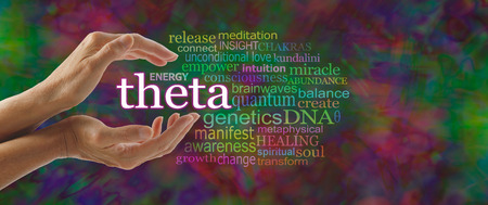 brainwaves: Theta Word Cloud - female hands cupped around the word THETA surrounded by relevant words on a dark multicolored random pattern  background