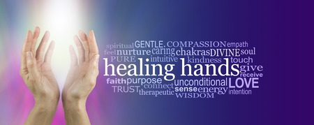 prana: Healing Hands Word Cloud - female hands reaching up with bright white shaft of light between on a pink and blue background with a HEALING HANDS word cloud on right