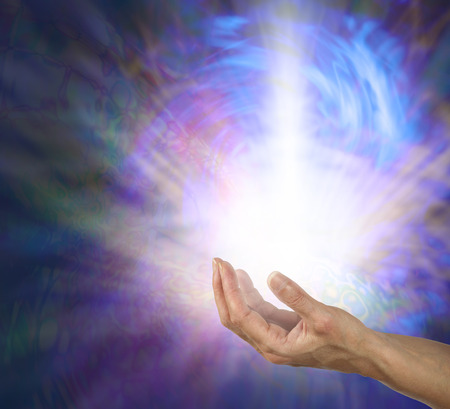 channeling: The Power and the Glory - open palm with a powerful shaft of white light radiating outwards and upwards in a swirling blue vortex of energy on a dark psychedelic pattern background