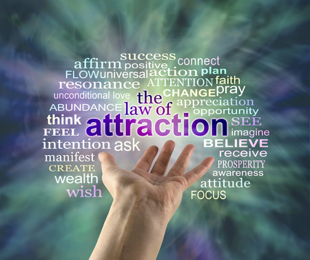 The Law of Attraction Word Cloud - outstretched female hand with the word ATTRACTION floating above surrounded by a relevant word cloud on a green energy formation background