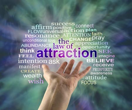 The Law of Attraction Word Cloud - uitgestoken vrouwelijke hand met het woord ATTRACTION zwevend boven omgeven door een relevant woord wolk op een groene energie formatie achtergrond
