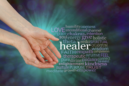Healer Offering Healing Word Cloud - female hands in open giving gesture beside a HEALER word cloud on a green and blue outwardly flowing bokeh background