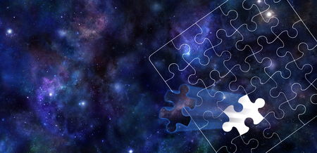 complex: A Piece of the Puzzle of the Universe - Dark blue background of the Universe with stars and planets with a white jigsaw puzzle outline overlaid and one segment of the jigsaw shooting outwards