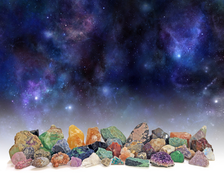 merchandise: Cosmic Mineral Collection - a selection of over 40 different mineral specimens arranged in a row against a background of the Universe providing copy space