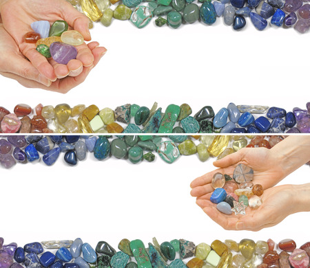 crystal healing: Two Crystal Healing Website Banners -  Two versions of a Crystal Healer holding crystals on a white background with crystals laid at the top and bottom