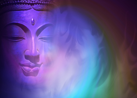 intuition: Mystical Buddha Background - ethereal colored gaseous vapours rising up with a partial Buddha head emerging from the darkness on left side and copy space on right Stock Photo
