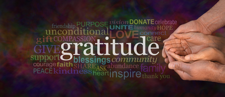 cradling: Gratitude Attitude Website Campaign Banner -  Male hands  cradling female cupped hands on a wide warm dark multicolored background with a GRATITUDE word cloud