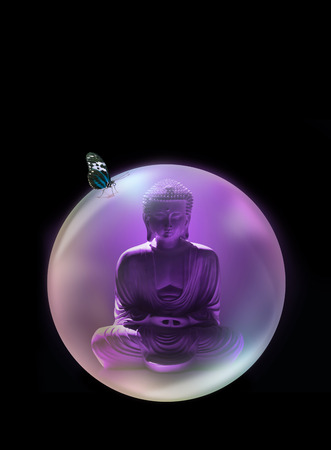 Buddha Mindfulness Bubble - purple buddha in lotus position inside purple bubble with a butterfly sit on top with closed wings on black background with copy space above