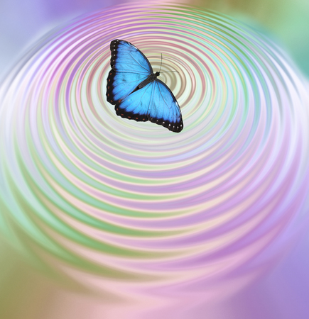 prediction: The Butterfly Effect - Big Blue Butterfly appearing to create ripples in pink green water surface with plenty of copy space below