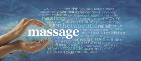 soft tissue: Blue massage word cloud - Female hands gently cupped around the word MASSAGE surrounded by a relevant word cloud on a flowing blue pattern background with faded blossom behind hands Stock Photo