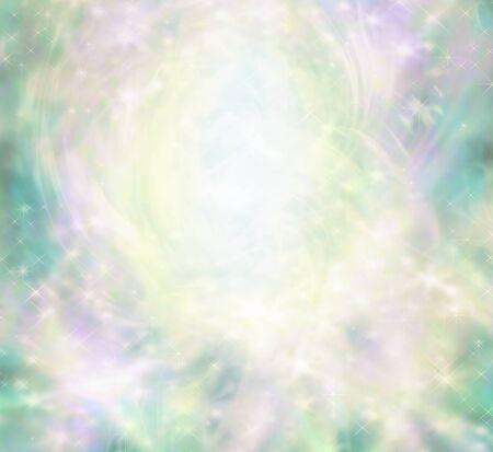 魔法の天使のようなスパーク リング境界線の背景 - ピンク、微妙な妖精のようなテーマと白い楕円形のセンター深緑、紫、ゴールド色と輝き