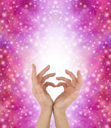 matchmaker: Sign Language for a Special Love - female hands touching pinkies  together to make a heart symbol with a white shaft of light behind and multiple sparkles on a vivid pink background