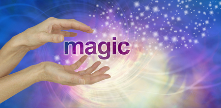 hocus pocus: The Magic of Healing - female  hands with the word MAGIC between and outward upward flowing stream of sparkles on a pink purple lemon spiraling background and copy space