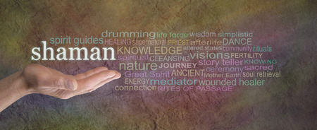 rites: Shaman Rustic word cloud Banner  - male palm facing up with the word SHAMAN hovering above  surrounded by a word cloud on a wide warm colored grunge stone effect background