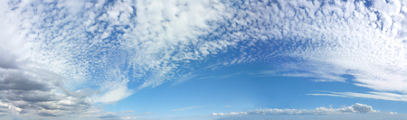 romantic sky: Panoramic Romantic Mackerel Blue Sky Cloudscape - Wide blue sky banner with mackerel different fluffy clouds Stock Photo