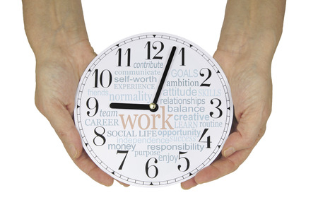 face work: Why and what do we work for - female hands holding a clock face showing 3 minutes past nine oclock (work has begun) with a WORK word cloud on the clock face isolated on a white background Stock Photo